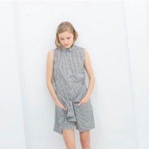 Zara Gingham Tie-Front Shirt Dress